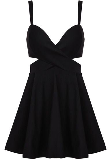 Black Spaghetti Strap Midriff Ruffle Homecoming  Dress   S299