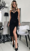Sheath Spaghetti Straps Black Velvet Prom Dress with Lace Homecoming Dress   S304