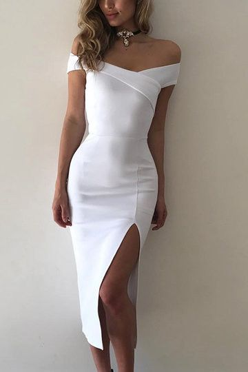 White Off Shoulder Front Slit Party  Dress , Homecoming Dress    S305