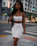 Two  Piece White Homecoming Dress S311