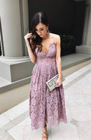 A-Line Spaghetti Straps Ankle-Length  Lace Homecoming Prom Dress    S316