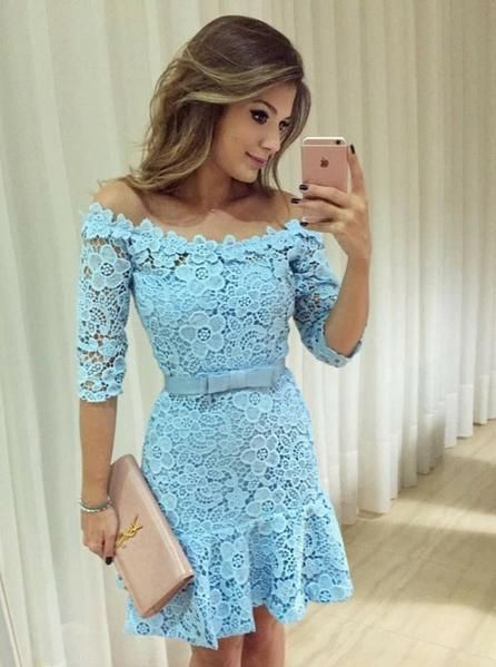 Blue Cocktail Dresses,Cocktail Dress with Sleeves,Lace Homecoming  Dress  S325