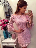 Women's Floral Lace Formal Wedding Bridesmaid Evening Party Prom Cocktail Dress ,Short Homecoming Dress   S326