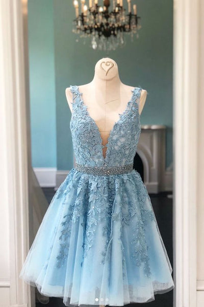 Blue v neck lace tulle short prom dress, blue homecoming dress  S334