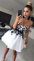 White v neck lace applique short prom dress, white homecoming dress S33