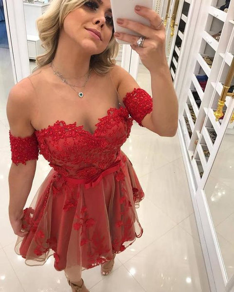 Sheer Red Short Prom Dress, Sexy Mini Tulle Prom Party Gown  S346