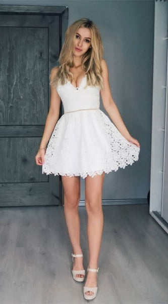 A-Line Spaghetti Straps Short White Lace Homecoming Party Dress S354