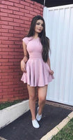 A-Line Crew Cap Sleeves Short Pink Homecoming  Dress  S355