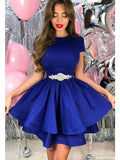 Royal Blue Homecoming Dress with Short Sleeves, Short Prom Dress  S35