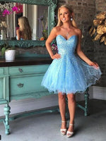 A-Line Sleeveless Sweetheart Net With Beading Short Homecoming  Dresses  S364