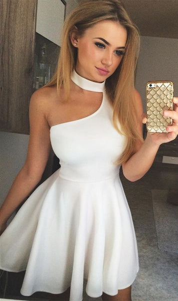 A-Line Halter Short White Homecoming  Dress  S366