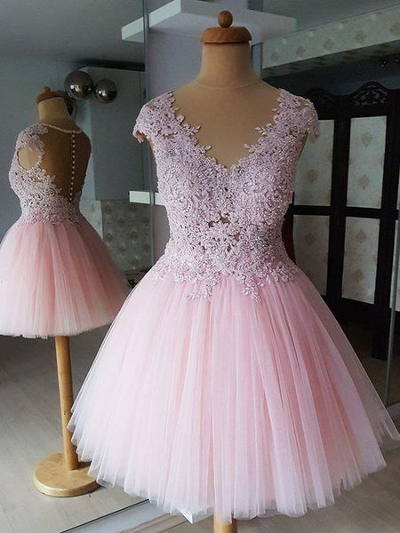 Tulle V-neck Neckline Cap Sleeves A-line Homecoming Dresses S374