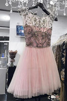 Luxurious Wedding Dress Pink Charming Cap Sleeves Pink Beads Back V Short Prom Homecoming Dresses Cocktail Dress S375