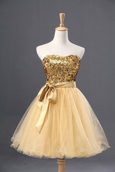 Yellow organza gold sequins sweetheart A-line short homecoming  dresses,casual dresses  S379
