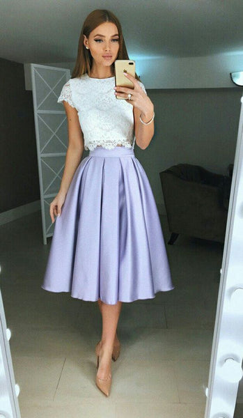 Two Piece A Line Homecoming Dress with Lace  S37