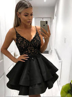 V neck black lace short prom dress, Black lace short homecoming evening dress  S380