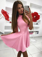 A-Line High Neck Half Sleeves Short Pink Satin Homecoming Dress  S382