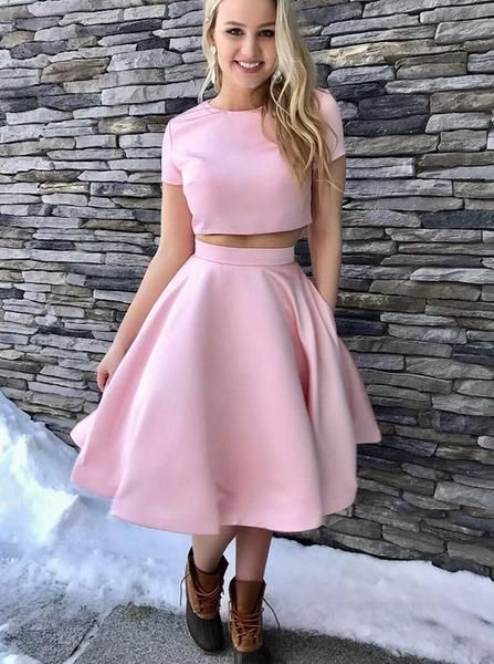 Two Piece Homecoming Dresses,Homecoming Dress with Sleeves,Knee Length Homecoming Dress S38