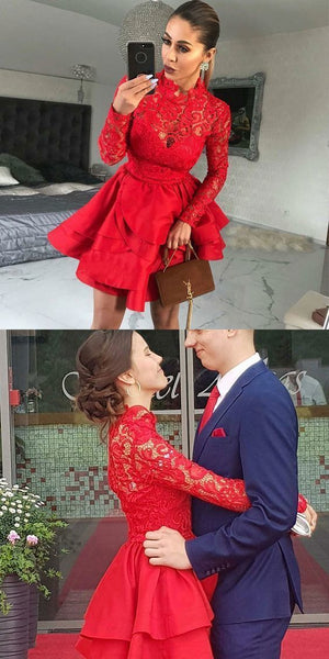 A-Line High Neck Long Sleeves Red Satin Homecoming Dress with Lace S393