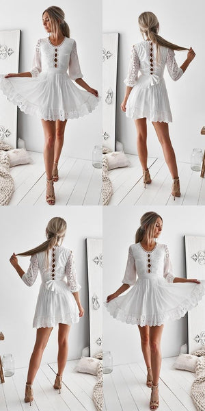 A-Line Homecoming Dress,3/4 Sleeves Homecoming Dresses,Short Homecoming Dress,White Homecoming Dress With Sash S399