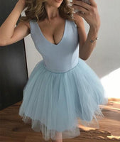 Cute V-Neck Light Blue Tulle Homecoming Dress,A-Line Tulle Party Dress,Sleeveless Graduation S39