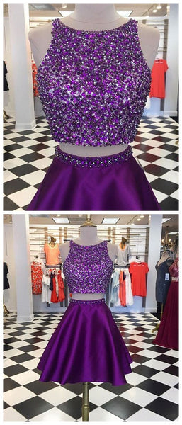 Two Pieces Homecoming Dress in Purple , Custom Made Hoco Dresses S407