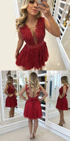 A-Line Round Neck Red Homecoming Prom Dress with Lace Beading Bow S408