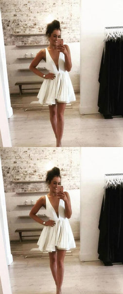 Sexy A-Line Deep V-Neck Sleeveless White Short Homecoming Dress With Pleats  S410