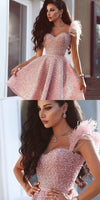 Sweetheart A-Line Pink Beaded Short Prom Dress with Feathers  S411