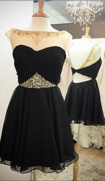 Black Short Chiffon Homecoming Dresses Scoop Neck Women Party Dresses S417