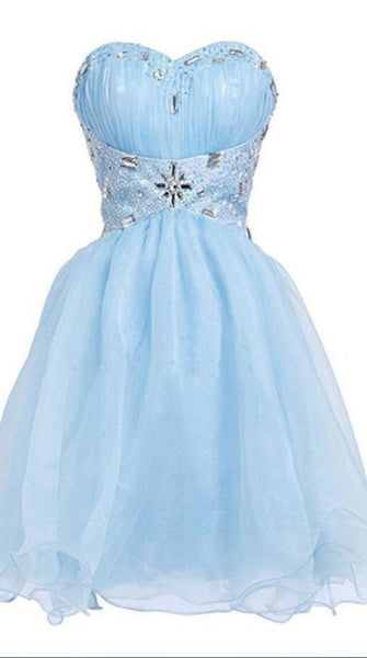 Beautiful Sky Blue Beading Sleeveless Short Prom Dresses Homecoming Dresses  S420