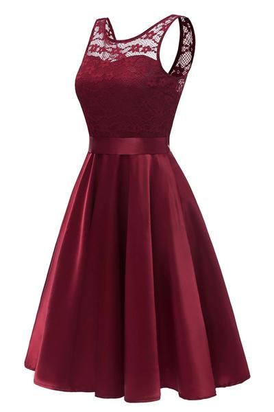 Burgundy Sleeveless Lace Prom Homecoming Dress  S424