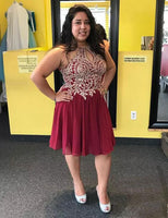 Halter Plus Size Short Burgundy Homecoming Dresses with Keyhole  S425