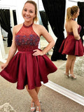 A-line Halter Mini Satin Short Burgundy Homecoming Dresses With Rhine Stones   S426