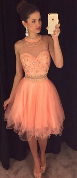 Two Piece Short Homecoming Dress with Beading , Short Prom Dress S431