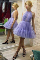 Lavender Tulle Halter Ruffles Short Prom Dresses Formal Homecoming Dress Fancy Party Gowns  S439
