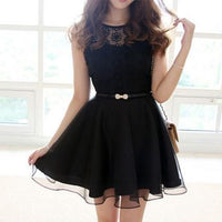 Embroidery Lace Chiffon Short Sleeve Dress With Bowknot Belt Homecoming Dress   S443