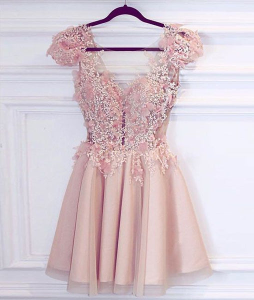 Cute A-Line V-Neck Cap Sleeves Tiered Short Homecoming Dress With Appliques S444