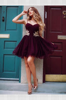 Nice Lace Homecoming Dresses, Maroon Homecoming Dresses, Cheap Homecoming Dresses S452