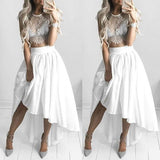 Gorgeous White Lace and Chiffon Top Homecoming Dress  S455
