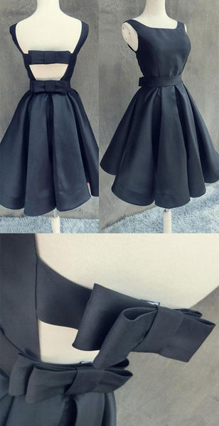 Simple Dark Navy Homecoming Dress with Bowknot Open Back Cocktail Dress  S456
