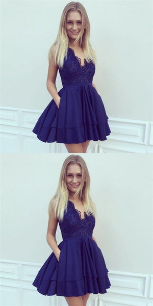 A-Line V-Neck Short Dark Blue Cheap Homecoming Dresses with Lace Pocket S457