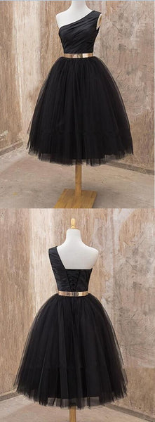 One shoulder Homecoming dress, Black homecoming dress, short homecoming dress  S460