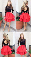 Black Homecoming Dresses, Two Piece Prom Dresses, Two Piece Black Homecoming Dresses With Layered Mini Round  S462