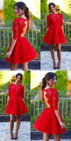 Red Homecoming Dress Scoop A-line Lace Sexy Short Prom Dress Party Dress S463