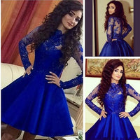 Short Satin and Lace Prom Dresses with Long Sleeves  S468