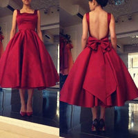 Gorgeous Burgundy Midi Ruffled A-Line Formal Dress Featuring Bowknot, Homecoming Dress  S469