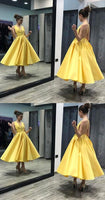 Criss Cross Yellow Ankle Length Prom Dresses   S470