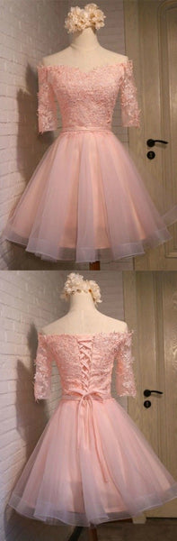 Pink Homecoming Dresses with Off the Shoulder Sleeves Short Tulle Style with Appliques Lace   S473