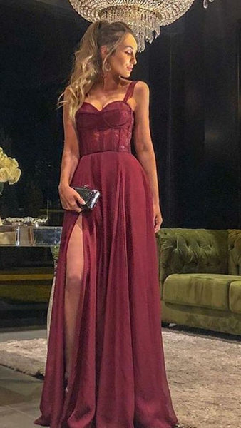 Fashion Spaghetti Straps Burgundy Prom Dress, Split Slit Evening Dress  S4758